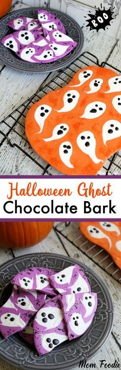 Halloween ghost Chocolate Bark: DIY Halloween Candy Ingredients 1 bag of orange or purple candy melts cup white candy melts cup black candy melts Halloween candy sprinkles (optional) Supplies baking sheet parchment paper or silicone baking m… Halloween Donuts, Halloween Desserts, Chocolat Halloween, Dulces Halloween, Bonbon Halloween, Pasteles Halloween, Halloween Party Treats, Manualidades Halloween, Spooky Treats