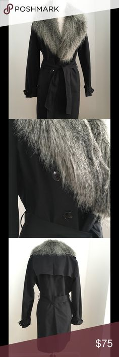 Black Trench Coat with Faux Fur Trim Black trench coat has a removable faux fur collar/lapel. By Kenneth Cole. Excellent condition. Kenneth Cole Jackets & Coats Trench Coats