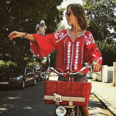 Items similar to Loose red embroidered Mexican blouse boho style vyshyvanka clothing-gift smart casual ljm on Etsy Fashion Week, Star Fashion, Boho Fashion, High Fashion, Embroidered Clothes, Embroidered Tunic, Estilo Folk, Hippie Style, My Style