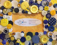 MINION Themed Button Picture Frame in Blue by allbuttonedupbytina