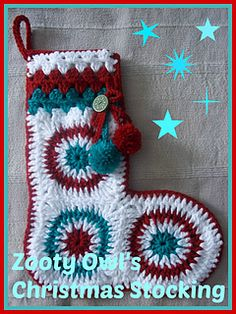Circles in Squares Christmas Stocking ~ free pattern