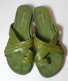 7d0d306338f7 Bandolino Womens Size 8.5M Green Open Toe Leather Wedge Sandals Shoes No  Box Leather Wedge