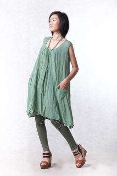 NO.19 Mint Cotton Tunic Top Pleated Front Long Top by JoozieCotton