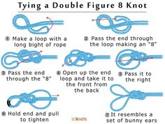 Clothing Hacks How to Tie a Double Figure 8 Knot (Bunny Ears): Step By Step Diagram and Informa… Survival Knots, Survival Skills, Loop Knot, Knots Guide, Bunny Quotes, Rope Art, Rope Knots, Pokemon, Paracord Projects