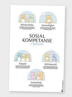 Sosial kompetanse i barnehagen | Rimtass | Norske læringsplakater Classroom Walls, Education, Adhd, Kids, Barn, Books, Bullying, First Grade, Poster