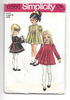 Vintage 1969 Sewing Pattern. Simplicity 8566, Girls cute dress with softly tucked front. Size 6