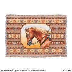 Southwestern Quarter Horse Throw Blanket