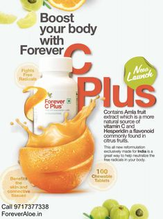Forever C Plus contains Amla fruits extract which is a more natural source of Vitamin C and Hesperidin a flavonoid commonly found in citrus fruits. Aloe Vera Juice Drink, Aloe Drink, Aloe Vera Gel Forever, Forever Living Aloe Vera, Nutrition Drinks, Health And Nutrition, Forever Living Business, Forever Life, Citrus Fruits