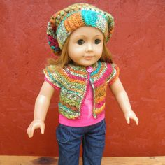Inspiration.... bet we could come up with a similar pattern......  American Girl doll SWEATER and SLOUCH HAT. $14.00, via Etsy.