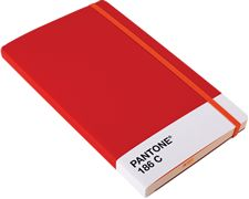 notebook available in 3 pantone colors. Pantone Red 186 C exterior and tinted light orange lined paper.
