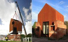 1. Buy a ruin. 2. Source a crane. 3. Insert house. 'Unser S(ch)austall' by Naumann Architektur and 'Dovecote Studio' by Haworth Tompkins (via Dezeen).