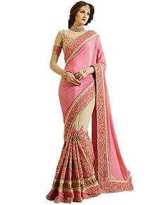 Premium Quality Saree Fabric: Chinon   Net Saree Length: 6 Mtr Including 0.80 Mtr Designer Blouse Piece 100% Genuine Product   Money-back Satisfaction Guarantee Color: Pink   Golden Pattern: Royal Embroidered Work Type: Half Half Saree Brand: Adorn Fashion Please Click on the \