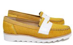 Chaussures Femme Mocassins Printemps Eté 2015 Maurice Manufacture BATHILDE Cuir poil ras jaune soleil - Verni blanc
