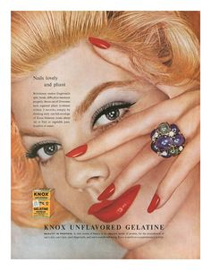 1959 Knox Gelatine ad....Women were encouraged to stir a packet into a glass of juice daily to help strengthen their fingernails....mom took it for years, as did I later on.