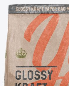 Glossy Kraft Paper Bag Mockup - Front View. Preview (Close-Up)