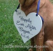 Our Happily Ever After Begins Dog Heart Sign  by CastleInnDesigns
