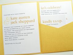 Pocketfold Wedding Invitations - Modern Names Pearl Shimmer Signature Pocketfold Invitation