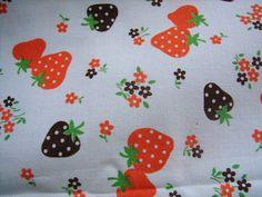 Vintage Strawberry Cotton Fabric Orange and by NopalitoVintageMore