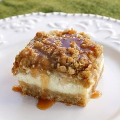 These creamy Caramel Apple Cheesecake Bars start with a shortbread crust, a thick cheesecake layer, and are topped with diced cinnamon apples and a sweet streusel topping. These Caramel Apple Cheesecake Bars have been pinned Dessert Bars, Apple Recipes, Sweet Recipes, Cookie Recipes, Bar Recipes, Family Recipes, Yummy Recipes, Cookbook Recipes, Brownie Recipes