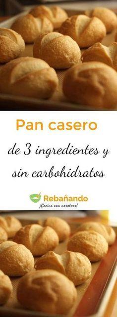 Esta receta es un regalo del cielo, ¿sabes por qué? Porque no solo este pan es riquísimo, sino que se hace en muy poco tiempo, tiene tan solo 3 ingredientes, no contiene carbohidratos y, gracias a eso, ¡puedes comer todo el que quieras sin engordar un solo gramo! Low Carb Recipes, Cooking Recipes, Pan Bread, Tan Solo, Healthy Desserts, Cooking Time, Mexican Food Recipes, Love Food, Food To Make