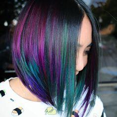 sushishirt cute new color for my silly client and her silly shirt . #pravana #b3 #inspiredbyb3 #framar #framarint #behindthechair @behindthechair_com #oilslickhair #purplehair #shorthair #shorthairstyles #hairgoddess #mermaidhair #unicorn #newyearunicorns #imallaboutdahair #hotonbeauty #beautylaunchpad #tealhair @brazilianbondbuilder @pravana