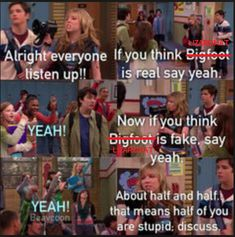 icarly iBelive in bigfoot nickelodeon Old Tv Shows, Kids Shows, Best Tv Shows, Sam E Cat, Icarly And Victorious, Drake And Josh, Nickelodeon Shows, Funny Quotes, Funny Memes