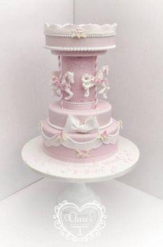 Christening Carousel Cake  - Cake by ClaresCupcakery
