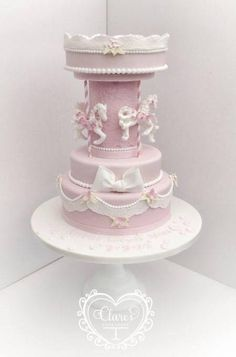 Christening Carousel Cake  - Cake by ClaresCupcakery