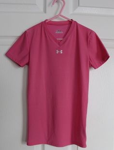 Girls UNDER ARMOUR Short Sleeve Tee Shirt YMD Medium Pink Solid Base Layer Check out my other items for sale here! http://www.ebay.com/sch/alittlecupcake/m.html