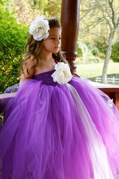 Purple Beauty Tutu Dress by PoufCouture on Etsy - love this style for a flower girl dress