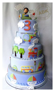 Sky & Clouds 5-Tier Transportation Cake with Sailboats, Street Transportation, Choo Choos, Helicopters and Airplane Topper