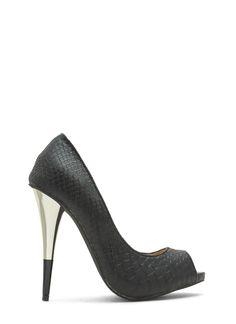 Tip You Off Reptile Scale Peep-Toe Heels BLACK YELLOW - GoJane.com