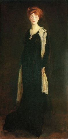 """""""Lady in Black with Spanish Scarf"""" (1910). Robert Henri (American, 1865-1929). Oil on canvas. de Young Museum."""