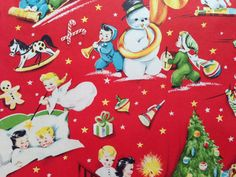 Vintage Christmas Gift Wrapping Paper - Juvenile Christmas Morning - Santa, Snowman - Holiday Gift Wrap - 1 Unused Partial Sheet Gift Wrap