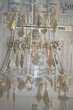 wonderful lampshades from yard sale finds think of doing a DIY wind chimes like this Yard Sale Finds, Craft Show Displays, Display Ideas, Lamp Shades, My New Room, Jewellery Display, Craft Fairs, Wind Chimes, Decoration