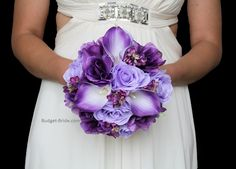 Posy Wedding Flower Package in mixed purple and lavender tones