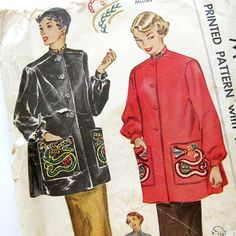 1950 Vintage Sewing Pattern with Asian Dragon Embroidery Transfer Mandarin Collar - McCalls 1530 / Size 16
