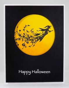 handmade Halloween card by Manitoba Stamper ... black and white plus yellow ... clean and simple design ... negative space circle on black base ... image stamped in the space ... black on yellow ... like the shading of the yellow background ... fun and easy to do ...