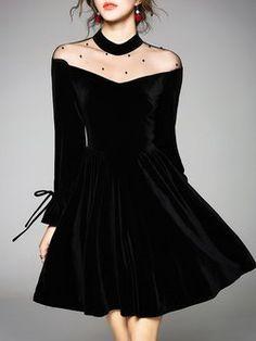 Velvet See-through Look Paneled Stand Collar Midi Dress