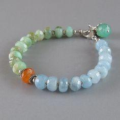 Peruvian Opal Aquamarine Chrysoprase Sterling Silver Bead Bracelet via Etsy