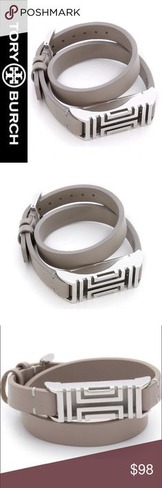 """NWT Tory Burch Fit Bit Silver/Gray Leather Wrap Tory Burch's iconic fretwork patterns this comfortable leather wrap bracelet designed to subtly hold a Fitbit Flex tracker. A secure latch on the inside makes it easy to insert the multitasking tracker (sold separately) and monitor your fitness and sleep patterns in style 