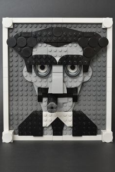 """Paddy Bricksplitter - Groucho - """"If you can't leave in a cab you can leave in a huff. If that's too soon you can leave in a minute and a huff."""" Groucho Marx in the style of Mr Mc Veigh. Legos, Lego Painting, Lego Portrait, Lego Engineering, Lego Minecraft, Lego Lego, Minecraft Skins, Minecraft Buildings, Lego Mosaic"""