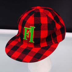 Baseball Cap Future Infinity FI Red Plaid Fitted KB Ethos Size XL Hat 6f235249fdd0