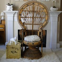 Vintage Chair Peacock Buri Queen Chair by BelatedDesigns on Etsy, $485.00