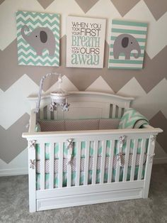 Chevron nursery boy, nursery ideas girl grey, boy nursery colors, b Baby Bedroom, Baby Boy Rooms, Baby Room Decor, Baby Boy Nurseries, Baby Cribs, Nursery Room, Girl Nursery, Bedroom Mint, Baby Boy Nursery Themes