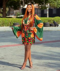 Kimono Wrap Dress Simple Frocks, Simple Gowns, Beautiful Ankara Gowns, Beautiful Ankara Styles, Ankara Short Gown Styles, Latest Ankara Styles, African Fashion Traditional, African Fashion Ankara, Gowns Of Elegance