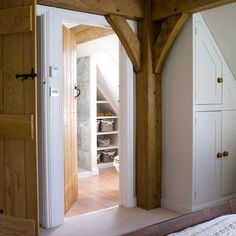 Exposed oak beams contrasts well with the white walls