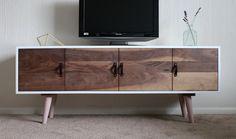 Mid century modern tv stand. Walnut fronts w/leather handles. @thescheffershop