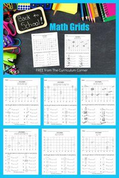 Back to School Math Grids (Coordinate Grids) - The Curriculum Corner 123