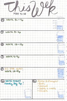 Water Consumption Bullet Journal Tracking
